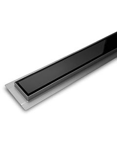 Dynamic Way douchegoot glas 800x70mm zijuitl. 40mm met rooster zwart