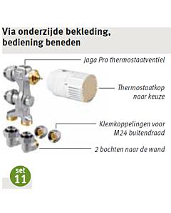 Jaga aansluitset 11 Low-H2O wand 2-pijp Fe/Cu Ø 15 mm AC-knop