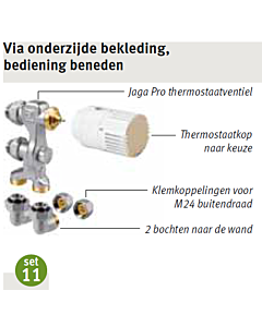 Jaga aansluitset 11 Low-H2O wand 2-pijp Fe/Cu Ø 15 mm AW-knop