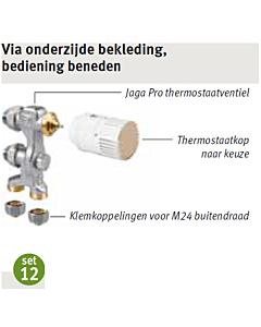 Jaga aansluitset 12 Low-H2O vloer 2-pijp Fe/Cu Ø 15 mm AW-knop