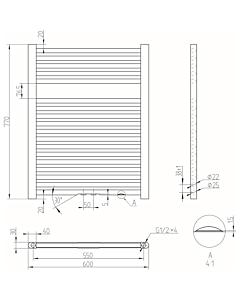 Best Design Zero handdoekradiator H77 B60 445W MM zwart