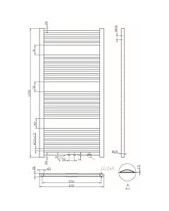 Best Design Zero handdoekradiator H120 B60 729W MM zwart