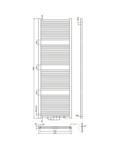 Best Design Zero handdoekradiator H180 B60 1085W MM zwart