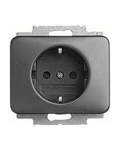 B-J Alpha wandcontactdoos met ra kinderveilig platin