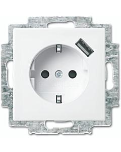 B-J Balance SI USB wandkontaktdoos met ra inbouw wit